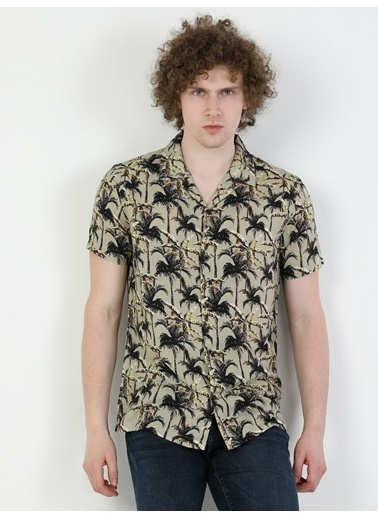 Colin's Regular Fit Shirt Neck Erkek Camel Kısa Kol Gömlek Camel